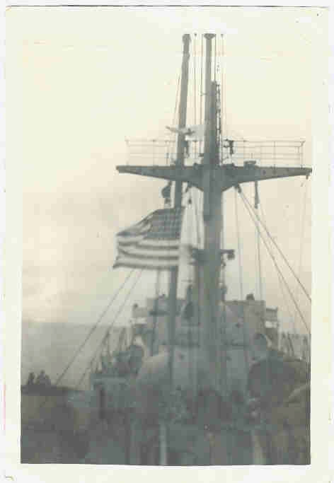 photograph of S.S. William Mulholland with flag at half mast in honor of death of President Roosevelt
